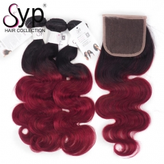 1B Burgundy Human Hair Bundles With Closure Brazilian Body Wave
