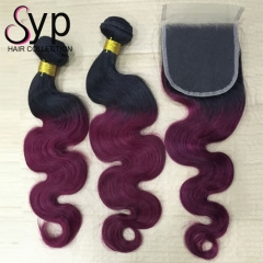 1B/99J Body Wave With 1B/99J Closure Burgundy Hair With Dark Roots
