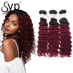 Dark Roots Burgundy Ombre Hair Bundles 1B Burgundy Deep Wave Curly