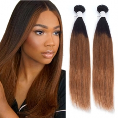 1B/30 Color Brown Ombre Human Hair Weave Straight With Black Roots