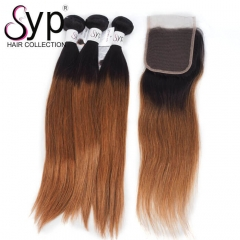 Ombre Hair 1B 30 With Closure Dark Roots Brown Hair Weave Straight