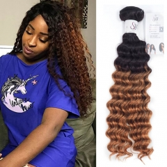 1B 30 Deep Wave Curly Hair Bundles Ombre Brown Hair With Dark Roots