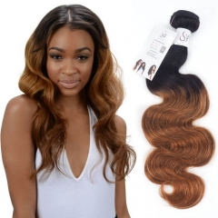 1B 30 Body Wave Black Roots Ombre Brown Wavy Human Hair Extensions