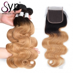 1B/27 Bundles With Closure Blonde Ombre Human Hair Weave Body Wave