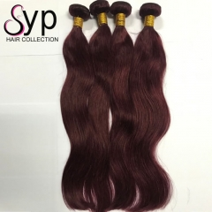 99J Burgundy Human Hair Weave Extensions Brazilian Straight For Sale
