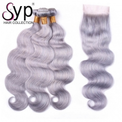 Grey Hair Weave Bundles With Closure Wet And Wavy Colored Hair