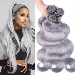 Light Grey Human Hair Weave Extensions Colored Brazilian Body Wave