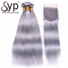 Colored Brazilian Human Hair Weave Grey Hair Bundles With Closure