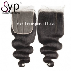 6x6 Invisible Lace Closure Transparent Body Wave Hair Natural Looking