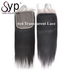 Cheap 6x6 Transparent Lace Closure Human Hair Straight For Wigs
