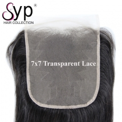 Ultra Thin Lace Closure Straight Hair 7x7 Transparent Pre Bleached
